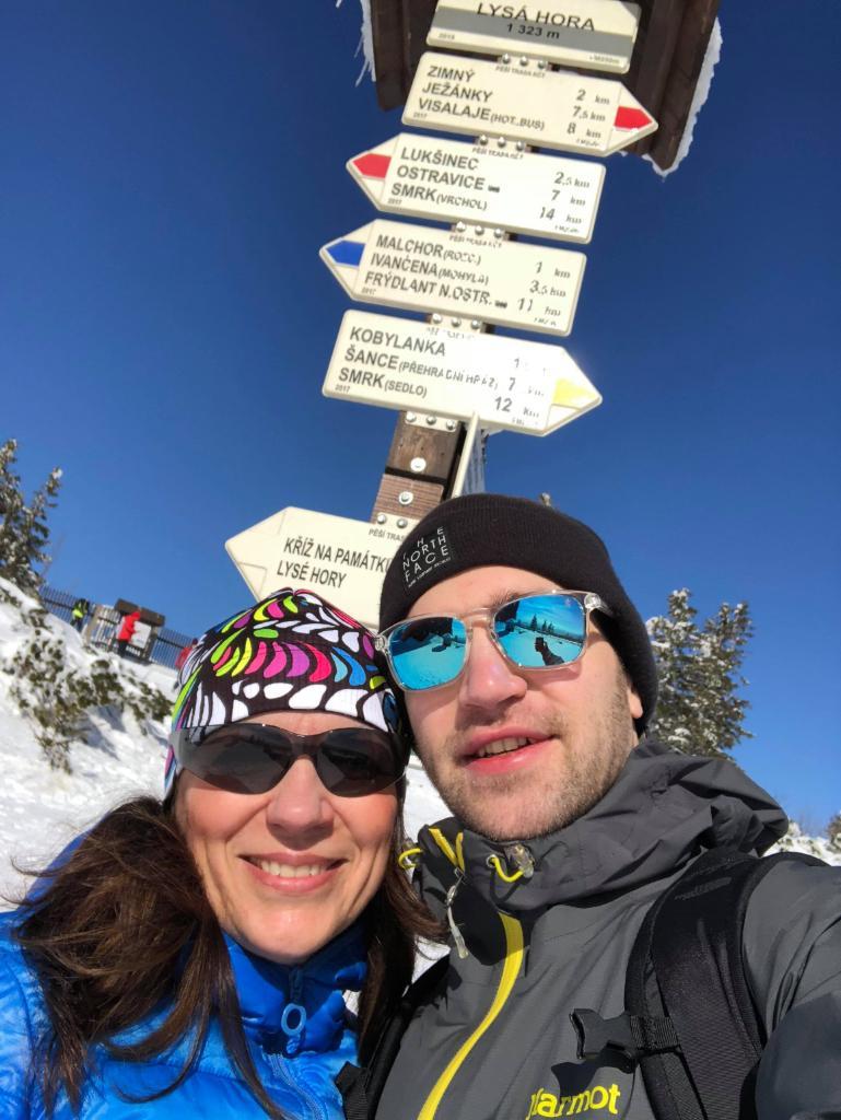 Andy na vrcholu Lysá hora (4.3.2018 12:35)