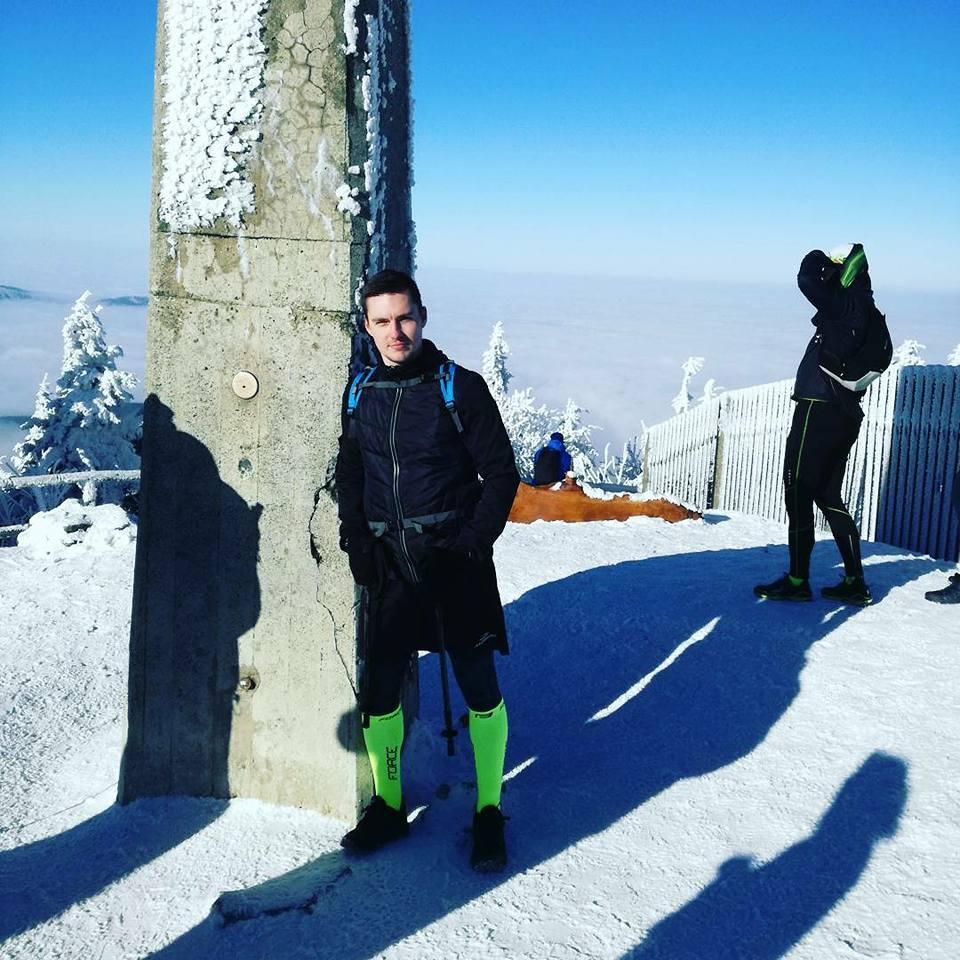 Tomáš Fojcik na vrcholu Lysá hora (14.1.2018 9:30)