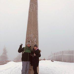 Andrea na vrcholu Lysá hora (5.1.2020 11:00)