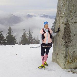 Gabriela Schellnerová na vrcholu Lysá hora (1.1.2018 9:00)