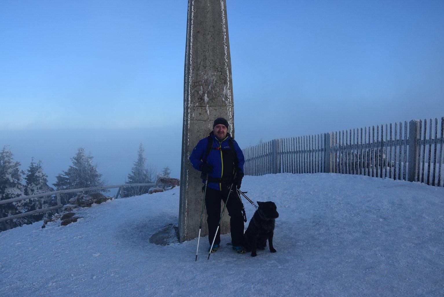 Vladimír na vrcholu Lysá hora (25.3.2018 6:45)