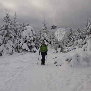 Monika Moko na vrcholu Lysá hora (7.1.2021 9:00)