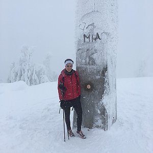Mirka Langrová na vrcholu Lysá hora (13.1.2019 11:15)