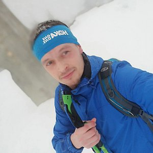 Ondřej Sládek na vrcholu Lysá hora (25.1.2021)