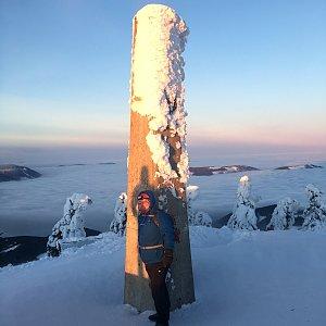 Karel Myslikovjan na vrcholu Lysá hora (23.1.2019 7:37)