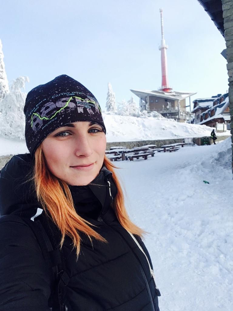 Kačaba Mikulenková na vrcholu Lysá hora (11.2.2018)