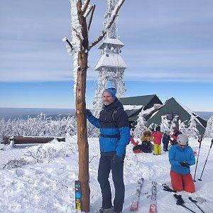 Petr Bartoň na vrcholu Skrzyczne (31.1.2021 19:44)