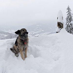 Michaela Hilscherová na vrcholu Prašivá (6.1.2019 12:15)