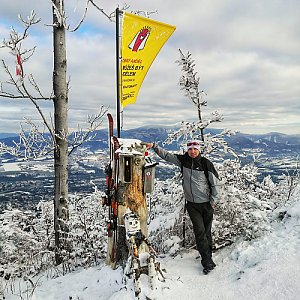 Jan Bančík na vrcholu Ondřejník - Vrchol (10.1.2021 13:07)