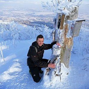 Jan Macháček na vrcholu Ondřejník - Vrchol (17.1.2021 13:57)