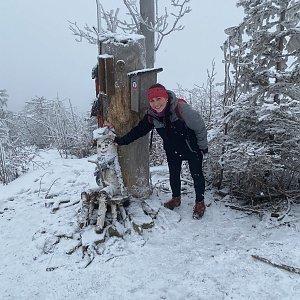 Nikalasova na vrcholu Ondřejník - Vrchol (6.2.2021 11:55)