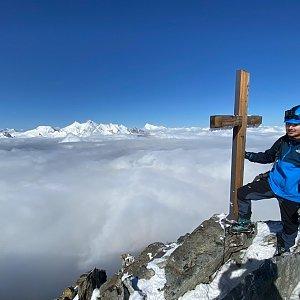 Martin Malý na vrcholu Lagginhorn (2.8.2021 10:00)