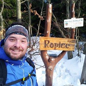 Jakub Špaček na vrcholu Ropice (17.1.2020 10:34)