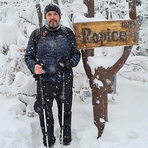 Jiří Gryz na vrcholu Ropice (16.1.2021 12:17)