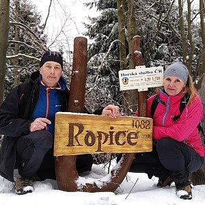 I+L Rajnochovi na vrcholu Ropice (2.3.2019)