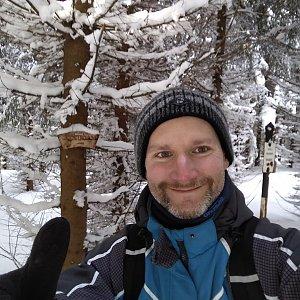Petr Bartoň na vrcholu Magurka (4.3.2018 12:40)