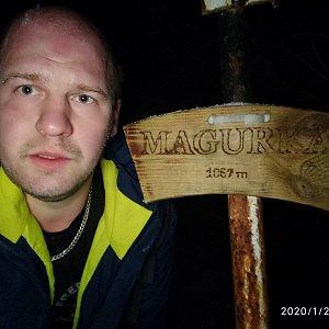 Petr Petrik na vrcholu Magurka (20.1.2020 17:10)