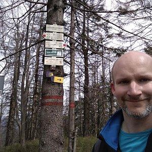 Petr Bartoň na vrcholu Velký Polom (15.4.2018 12:51)