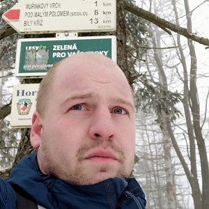 Petr Petrik na vrcholu Velký Polom (11.1.2020 14:35)