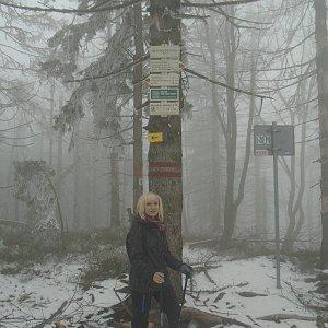 Ilona Mušálková na vrcholu Velký Polom (13.4.2019 15:50)