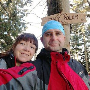 Brůča&Bubu na vrcholu Malý Polom (10.3.2018)