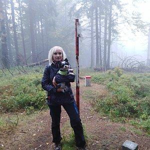 Ilona Mušálková na vrcholu Malý Polom (6.10.2019 13:45)