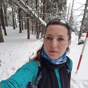 Marcela Kubíčková na vrcholu Malý Polom (15.2.2020 10:57)