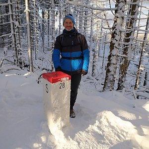 Petr Bartoň na vrcholu Malý Polom (10.1.2021 17:50)