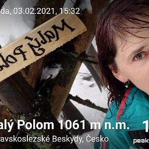 Priserka-xxl na vrcholu Malý Polom (3.2.2021 21:41)