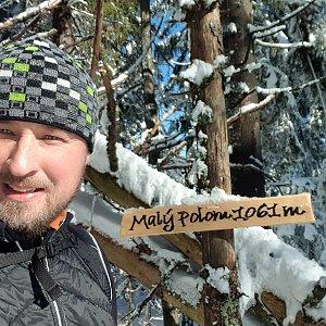 Igor Gluza na vrcholu Malý Polom (20.2.2021 10:55)