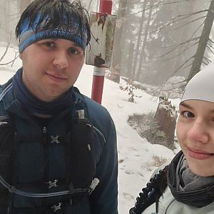 Markéta Čeníková na vrcholu Malý Polom (27.2.2021 14:10)
