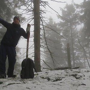 Jan Rendl na vrcholu Malý Polom (9.3.2019 17:00)