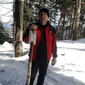 Jiří P na vrcholu Malý Polom (17.3.2019 13:08)