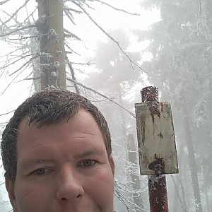 Michal Krčmář na vrcholu Malý Polom (13.4.2019 14:50)