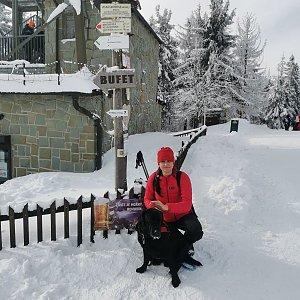Petr Šrámek na vrcholu Velká Čantoryje / Czantoria Wielka (31.1.2021 13:15)
