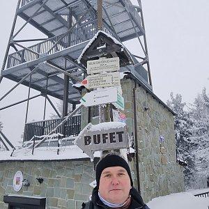 Michael na vrcholu Velká Čantoryje / Czantoria Wielka (29.1.2021 12:13)