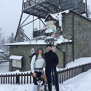 Nikol Podesvova na vrcholu Velká Čantoryje / Czantoria Wielka (30.1.2021 13:15)