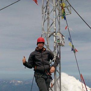 Petr Papcun na vrcholu Hoher Dachstein (7.5.2018 12:15)