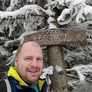 Petr Petrik na vrcholu Folvark (14.2.2021 9:39)