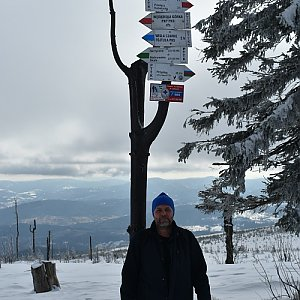 Ladislav Farý na vrcholu Barania Góra (15.2.2020 11:50)