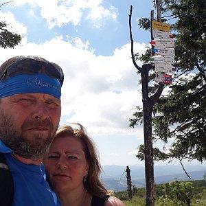 Martin a Jana Halamíčkovi na vrcholu Barania Góra (1.8.2020 10:41)