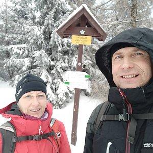 stebrony na vrcholu Magurka Viślańska (5.1.2020 13:50)