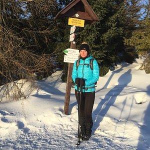Vendula Valigurová na vrcholu Magurka Viślańska (25.1.2020 8:20)