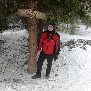 Jiří P na vrcholu Slavíč (3.3.2019 11:34)