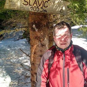 Michal Krčmář na vrcholu Slavíč (17.3.2019 10:25)
