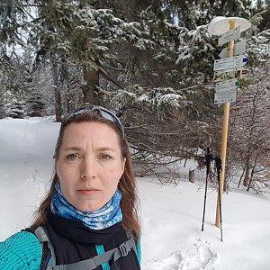 Marcela Kubíčková na vrcholu Uhorská (15.2.2020 11:35)