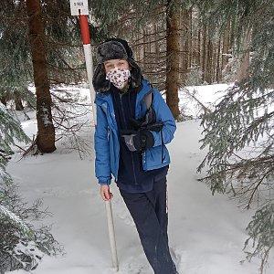 Arnošt na vrcholu Kobylanka (30.3.2020)