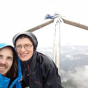 Jakub Fridex Fridrich na vrcholu Jôf Di Miezegnot (4.9.2018 1:15)