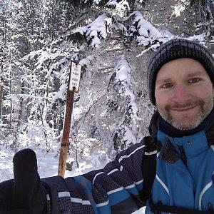 Petr Bartoň na vrcholu Nořičí hora (4.3.2018 10:29)