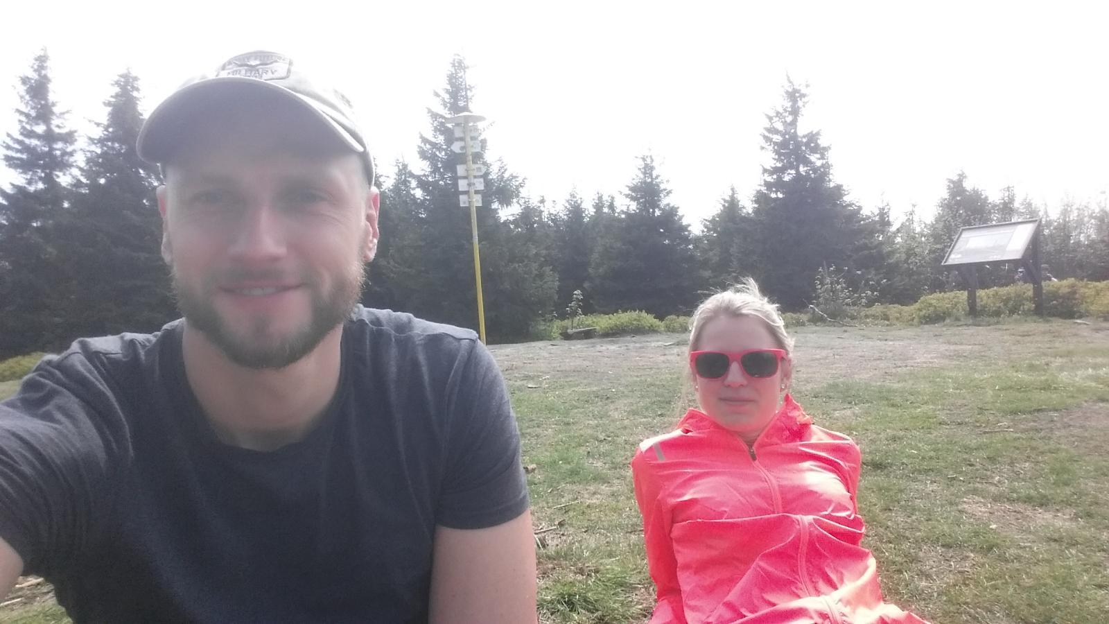 Jan Čech na vrcholu Smrk (1.5.2018 13:30)